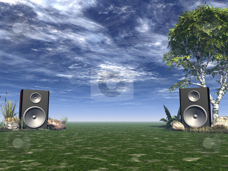 Party on stock photo, Two loudspeakers in a nature landscape - 3d illustration by J?