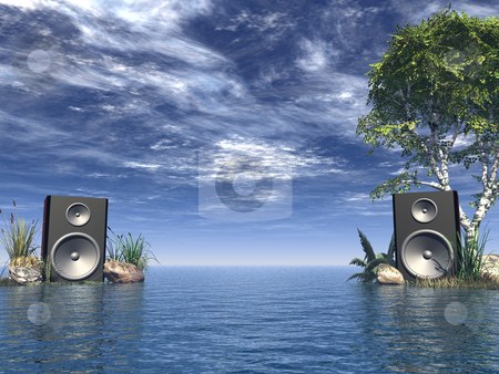 Stereo stock photo, Loudspeakers at the ocean - 3d illustration by J?