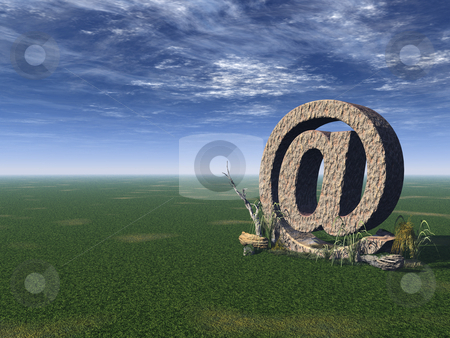 Email alias stock photo, Email alias on green field - 3d illustration by J?