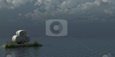 Cloverleaf stock photo, Stone cloverleaf at the ocean - 3d illustration by J?