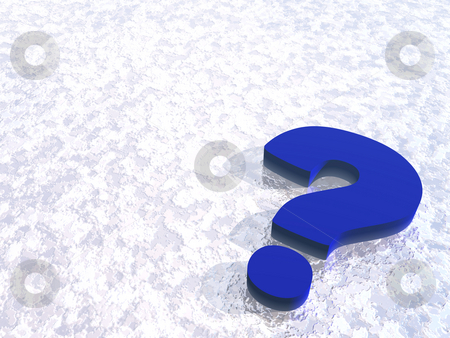 Question mark stock photo, Bl question mark on snow background - 3d illustration by J?