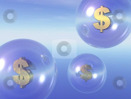 Money stock photo, Transparent balls with dollar sign inside in the sky - 3d illustration by J?