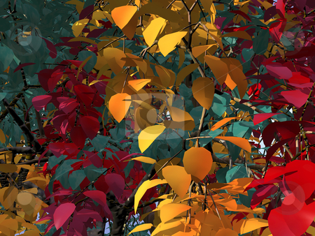 Foliage stock photo, Colorful foliage - 3d illustration - green, red, yellow by J?