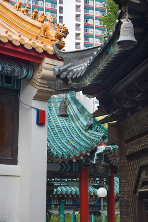 Modern Buildings Ancient Roofs Bells Wong Tai Sin Taoist Temple  stock photo, Modern Buildings Ancient Roofs Bells Wong Tai Sin Taoist