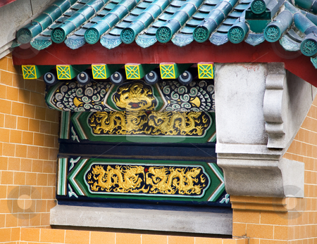 Golden Dragon Details Wall Wong Tai Sin Taoist Temple Kowloon Ho stock photo, Golden Dragon Details Wall Roof Wong Tai Sin Taoist Temple Kowloon Hong Kong by William Perry
