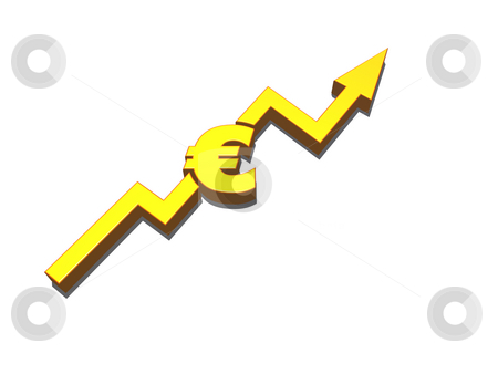 Euro stock photo, Euro symbol and statistics curve - 3d illustration by J?