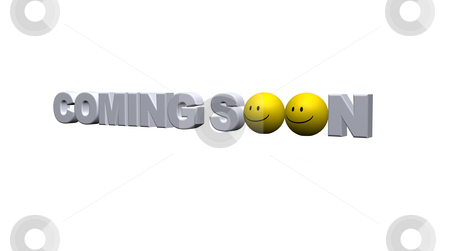 Coming soon stock photo, Coming soon text with smileys - 3d illustration by J?