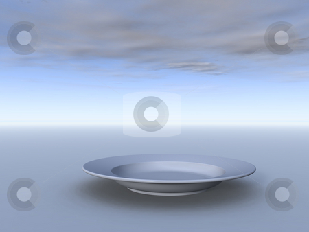 Dinner stock photo, Dinner plate in front of cloudy sky - 3d illustration by J?