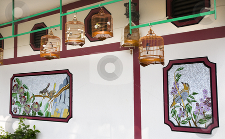 Bamboo Cages Wall Hong Kong Bird Market stock photo, Brown Bird Cages White Wall Hong Kong Bird Market by William Perry