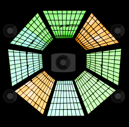 Stained glass window stock photo, Stained glass window with regular geometrical shape by Alexandru Cristian Ciobanu