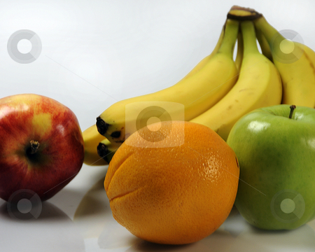 Assorted Fruit stock photo, Fresh fruit against a white background. by W. Paul Thomas