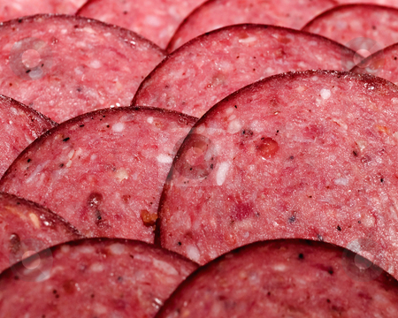 Summer Sausage stock photo, Sliced