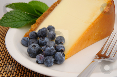 Blueberry and Cheese Cake stock photo, Seasonal blueberries with a slice of plain cheese cake with a mint leaf garnish served on a white saucer and a silver fork. by Lynn Bendickson