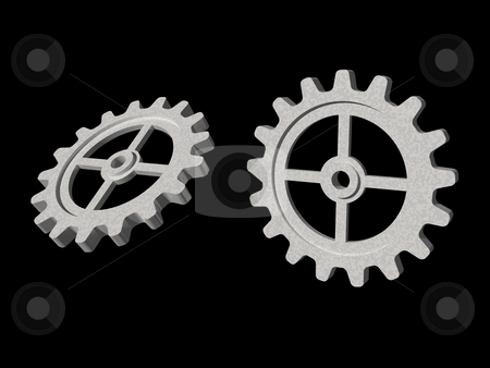 Gear stock photo, Two gears on black background - 3d illustration by J?