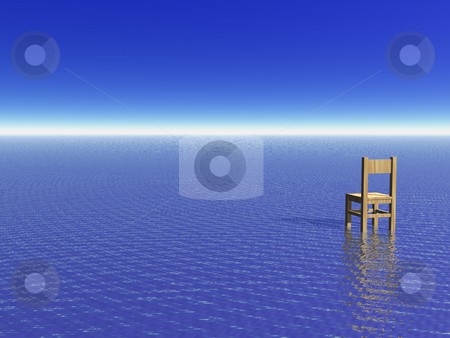 View stock photo, Lonely chair at the ocean - 3d illustration by J?