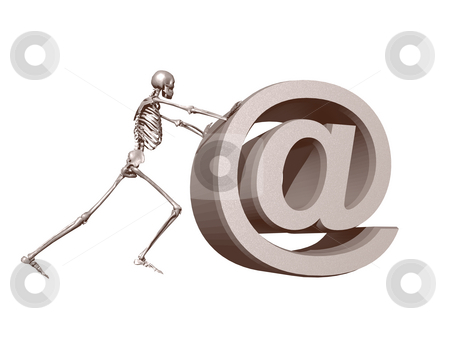 Death mail stock photo, A skeleton pushes an at symbol - 3d illustration by J?