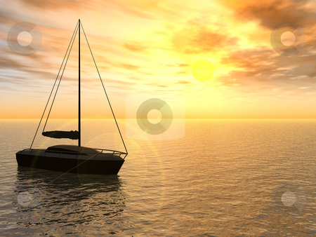 Yacht stock photo, A yacht in the sunset - 3d illustration by J?