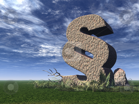 Law stock photo, Paragraph symbol on a green field - 3d illustration by J?