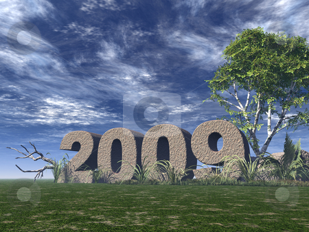 2009 stock photo, 2009 rock on green field - 3d illustration by J?