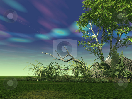 Sky stock photo, Landscape with strange sky - 3d illustration by J?