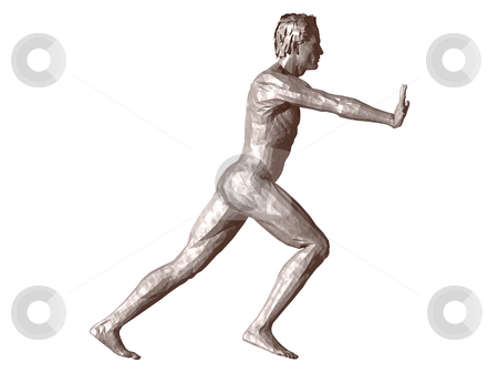 Push stock photo, Man statue pushes what you want - 3d, illustration by J?
