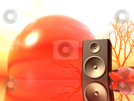 Loud stock photo, Loudspaeker in a strange landscape - 3d illustration by J?