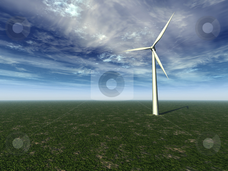 Wind generator stock photo, Windmill on a gren field with cloudy sky - 3d illustration by J?