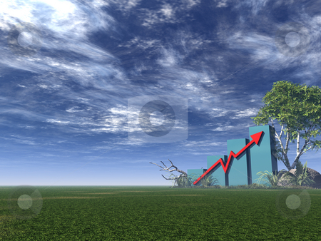 Graph stock photo, Business Graph with arrow  - 3d illustration by J?