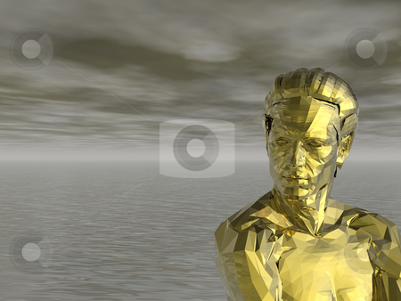 Golden monument stock photo, Golden statue of a man and water landscape - 3d illustration by J?
