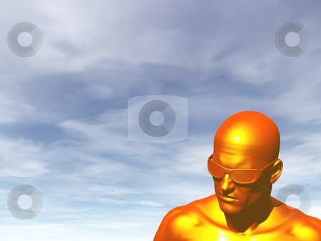 Orange stock photo, Furiously orange man in front of blue sky - 3d illustration by J?