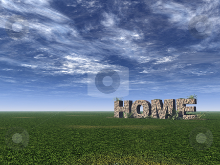 Home stock photo, Home rock on green field - 3d illustration by J?