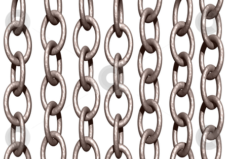 Chains stock photo, Metal chains on white background - 3d illustration by J?
