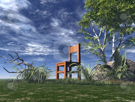 Chair stock photo, Lonely chair on green field - 3d illustration by J?