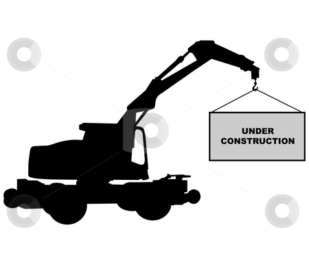 Under construction stock photo, Crane with under construction sign by J?