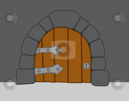 Old heavy door stock photo, Old heavy door in comic style by J?