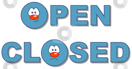 Open - closed stock photo, Open closed text in comic style by J?