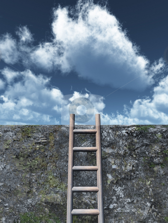 Freedom stock photo, Ladder on wall in front of cloudy sky - 3d illustration by J?
