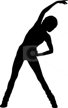 Aerobic stock photo, Silhouette woman aerobic by J?