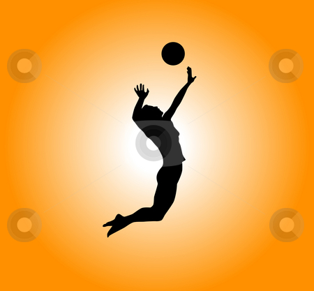 Volleyball stock photo, Silhouette - woman plays volleyball by J?