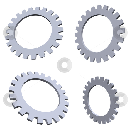 Gears stock photo, 4 gears in various positions by J?