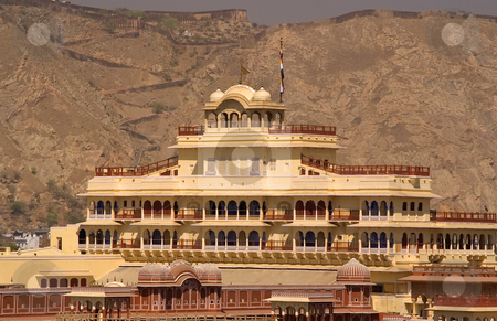 City Palace Jaipur India stock photo, This is the current home of the present maharaja of Jaipur; India.; This is a mix of mughal and rajasthani architecture and is a famous landmark in Jaipur. by William Perry