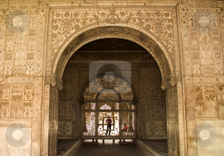 Mughal Designs on Interior Red Fort, Delhi, India stock photo, Designs on Walls inside of Red Fort, Delhi, India by William Perry
