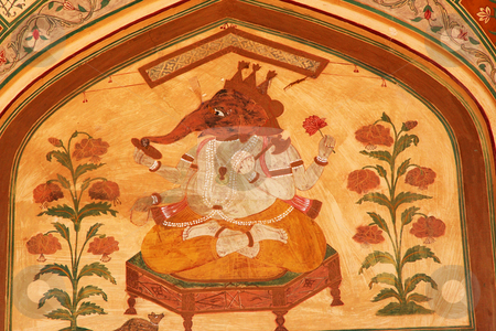 Lord Ganesh Hindu God Mural Jaipur India stock photo, 16th Century Mural of Lord Ganesh, Hindu God, Amber Fort, Jaipur, India by William Perry