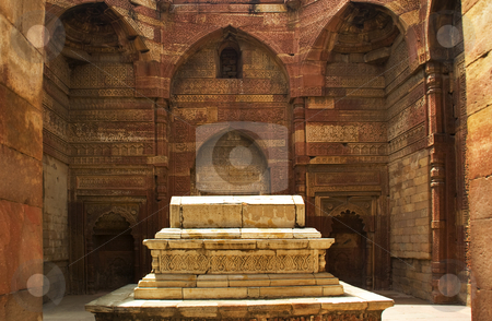 Iltumish Tomb Qutab Minar Delhi India stock photo, Iltumish Tomb surrounded by carved sandstone walls Qutab Minar, Delhi, India by William Perry