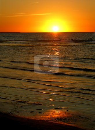 Sunset Baltic Ocean Jurmula Latvia stock photo, Sunset Baltic Ocean Jurmula Beach Latvia by William Perry