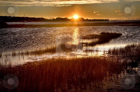 Padnaram Harbor Massachusetts at Sunrise stock photo, Padnaram Harbor, Dartmouth, Massachusetts at Sunrise by William Perry
