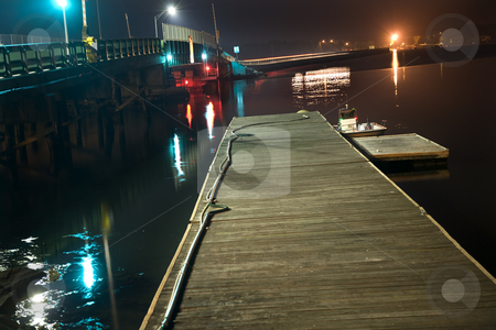 Padnaram Bridge Dartmouth Massachusetts at Night with Reflection stock photo, Padnaram Bridge Dock Boat Harbor Buzzards Bay Dartmouth Massachusetts