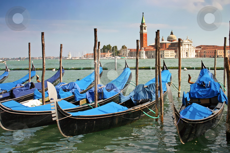 Gondolas moored by the Piazzetta di San Marco in Venice stock photo, Gondolas moored by the Piazzetta di San Marco in Venice with the Isola di San Giorgio Maggiore across the canal in the background by Stephen Goodwin