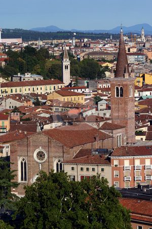 Church of San Tommaso Cantuariense on the skyline of Verona, Ita stock photo, Church of San Tommaso Cantuariense on the skyline of Verona, Italy, viewed from the top of the Lamberti Tower vertical by Stephen Goodwin