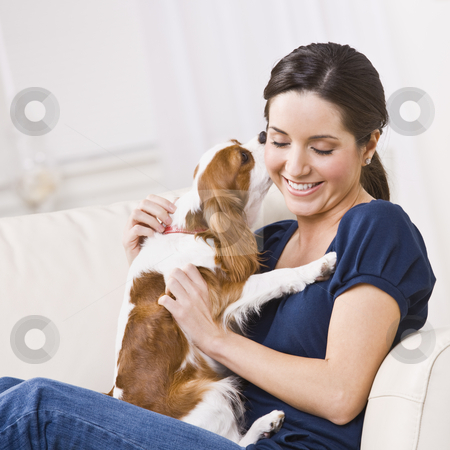 Dog Kissing Woman stock photo, An attractive young woman sitting on a couch and being kissed by a dog that she is holding.  She is smiling and her eyes are closed. Square framed photo. by Jonathan Ross